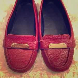 Burberry Red Pebbled Leather Driving Loafer